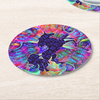 UNICORN OF THE UNIVERSE multicolored Round Paper Coaster