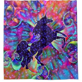 UNICORN OF THE UNIVERSE multicolored Shower Curtain