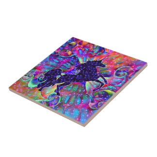 UNICORN OF THE UNIVERSE multicolored Small Square Tile