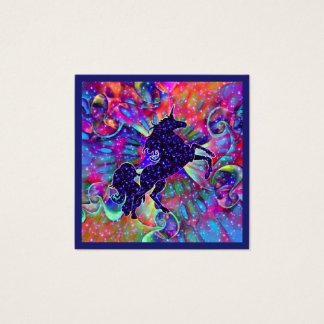 UNICORN OF THE UNIVERSE multicolored Square Business Card