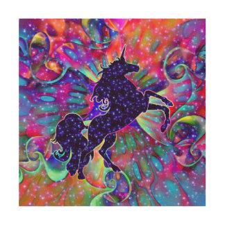 UNICORN OF THE UNIVERSE multicolored Wood Prints