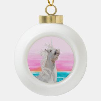 Unicorn on beach Christmas ornament