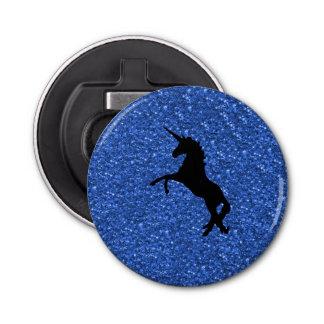 unicorn on blue glitter bottle opener