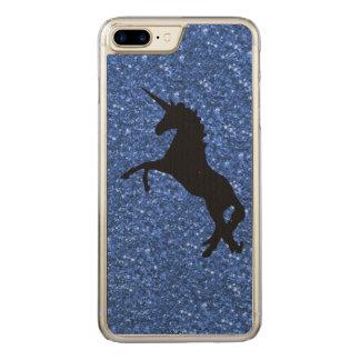 unicorn on blue glitter carved iPhone 8 plus/7 plus case