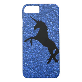 unicorn on blue glitter iPhone 8/7 case