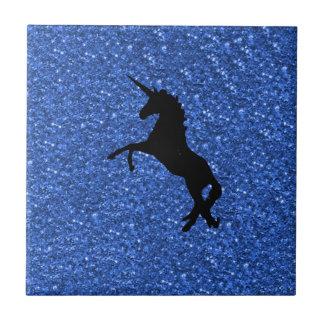 unicorn on blue glitter small square tile