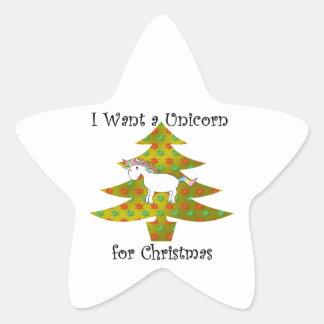 Unicorn on Christmas tree on gold fade Star Sticker