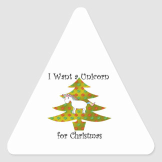 Unicorn on Christmas tree on gold fade Triangle Stickers
