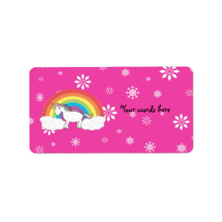 Unicorn on clouds pink snowflakes label