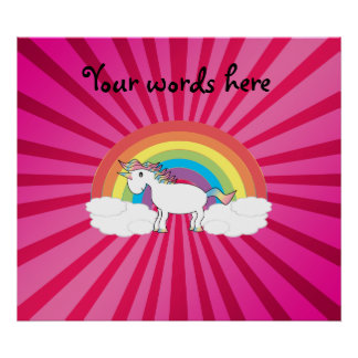 Unicorn on clouds pink sunburst print