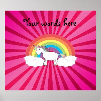 Unicorn on clouds pink sunburst print