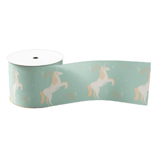 unicorn on mint background grosgrain ribbon