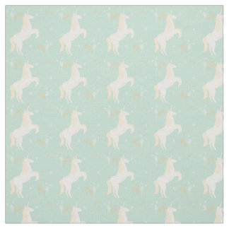 Unicorn on mint background with floral elements fabric