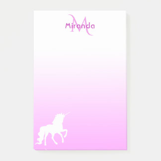 Unicorn on Pink and white with monogram and name Post-it Notes