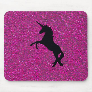 unicorn on pink glitter mouse mat
