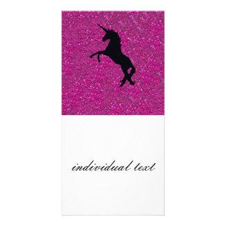 unicorn on pink glitter photo greeting card