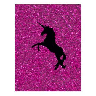 unicorn on pink glitter postcard