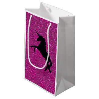 unicorn on pink glitter small gift bag