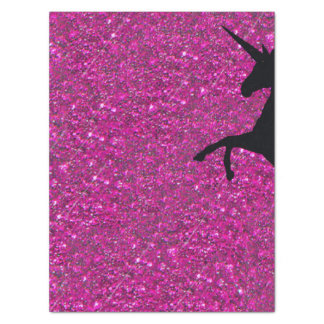 unicorn on pink glitter tissue paper