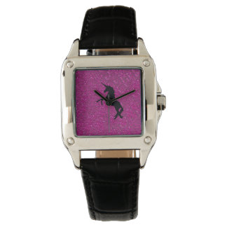unicorn on pink glitter watch