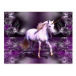 Unicorn On Purple Fractal Postcards