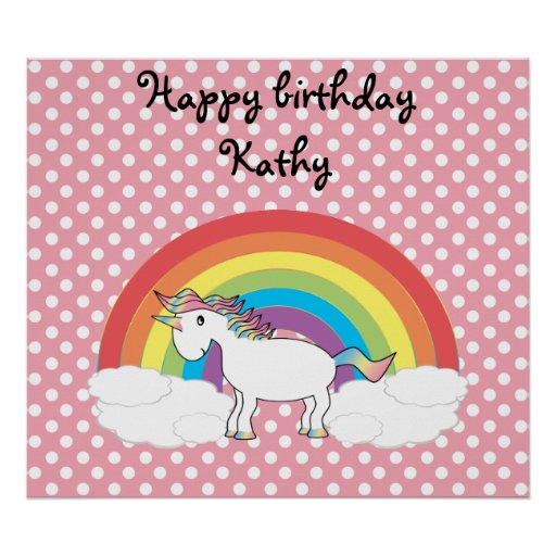 Unicorn on rainbow and pink polka dots posters