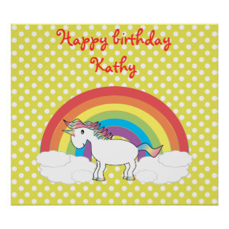 Unicorn on rainbow and yellow polka dots poster