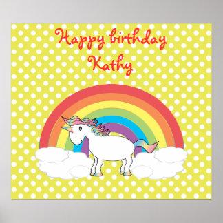 Unicorn on rainbow and yellow polka dots print