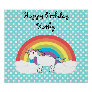Unicorn on rainbow Clouds and blue polka dots Poster