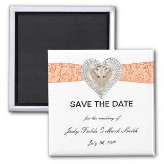 Unicorn Orange Lace Save The Date Magnet
