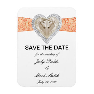 Unicorn Orange Lace Save The Date Magnet