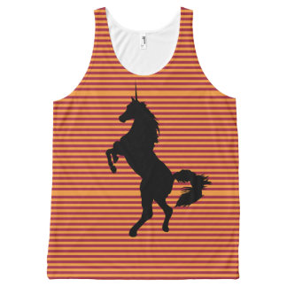 Unicorn, Orange Stripes on Burgundy. All-Over Print Tank Top