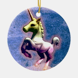 Unicorn Ornament - Circle (Burnt Blue)