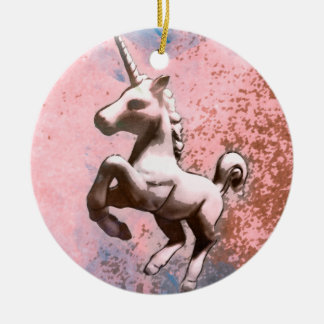 Unicorn Ornament - Circle (Faded Sherbet)