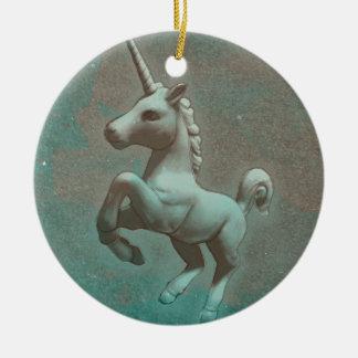 Unicorn Ornament - Circle (Teal Steel)