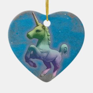 Unicorn Ornament - Heart (Blue Nebula)