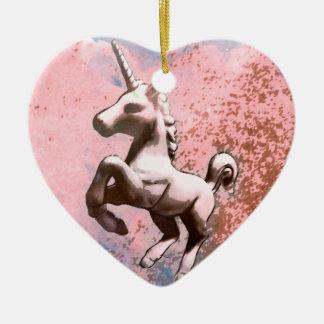 Unicorn Ornament - Heart (Faded Sherbet)