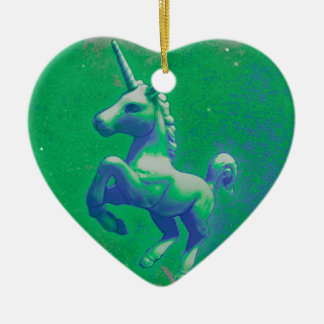Unicorn Ornament - Heart (Glowing Emerald)