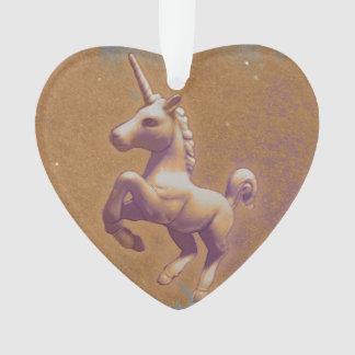 Unicorn Ornament - Heart Ribbon (Metal Lavender)