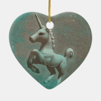 Unicorn Ornament - Heart (Teal Steel)