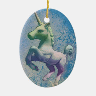 Unicorn Ornament - Oval (Blue Arctic)