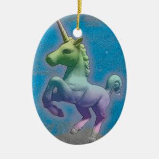 Unicorn Ornament - Oval (Blue Nebula)