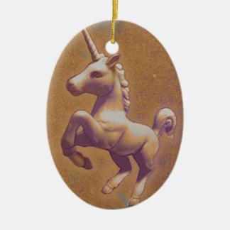 Unicorn Ornament - Oval (Metal Lavender)