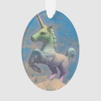 Unicorn Ornament - Oval Ribbon (Glitter Paper)