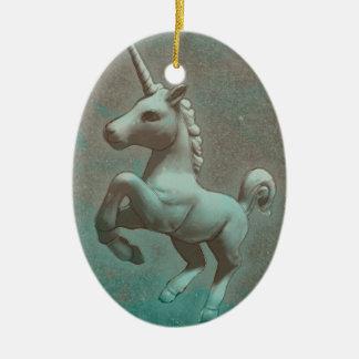 Unicorn Ornament - Oval (Teal Steel)