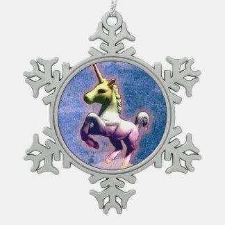 Unicorn Ornament - Snowflake (Burnt Blue)