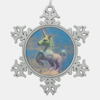 Unicorn Ornament - Snowflake (Sandy Blue)