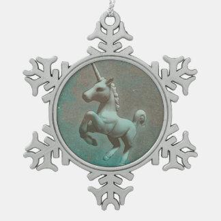 Unicorn Ornament - Snowflake (Teal Steel)