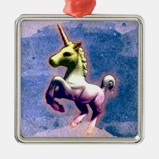Unicorn Ornament - Square Premium (Burnt Blue)