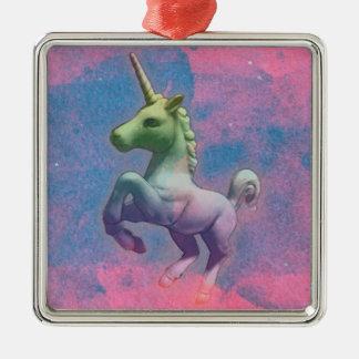 Unicorn Ornament - Square Premium (Cupcake Pink)